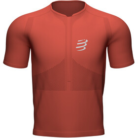 Compressport Trail Fitted T-shirt met Halve Rits Heren, red clay